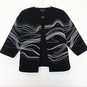 St John Black & White Embroidered Jacket